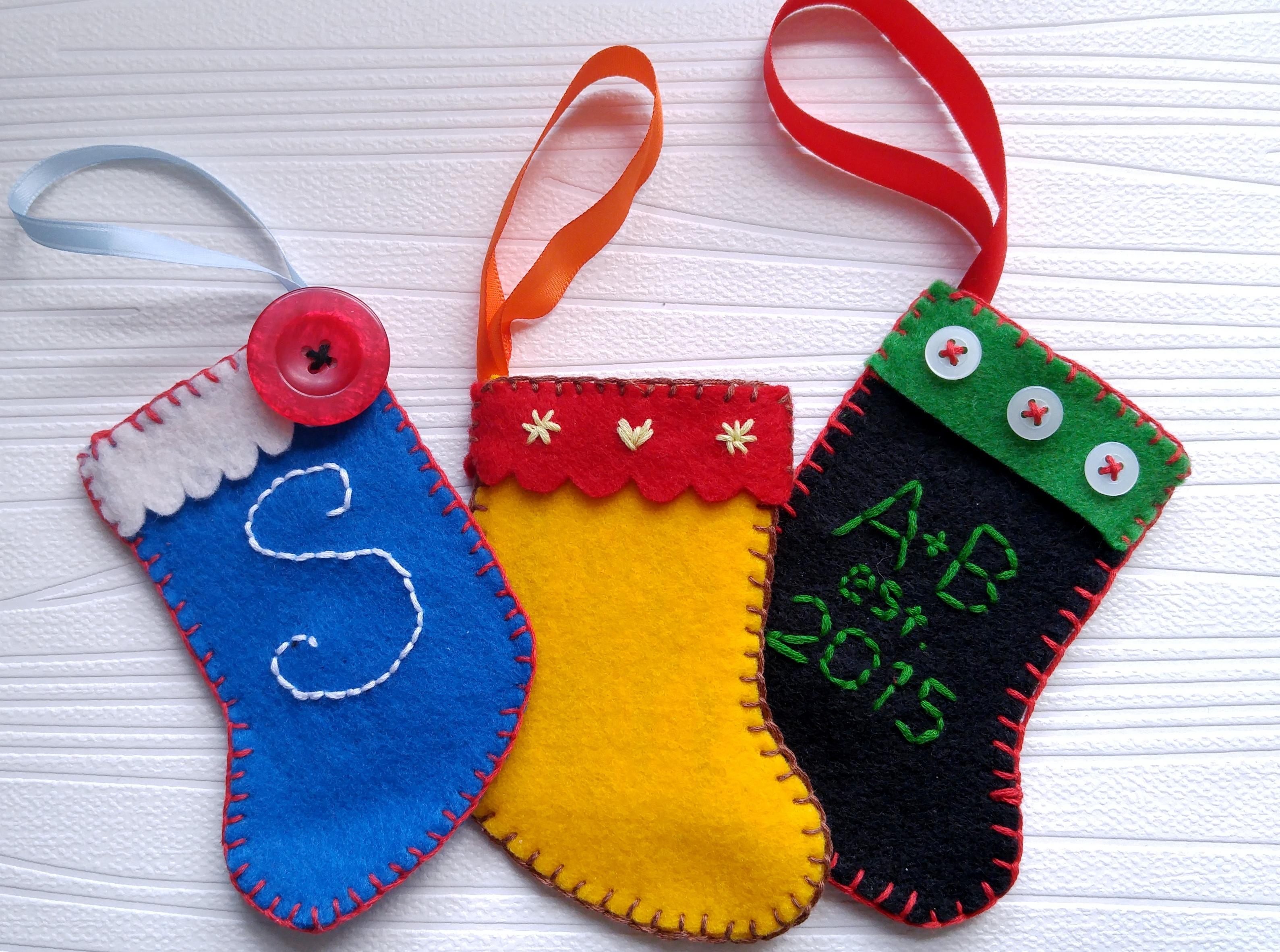 Handmade felt stocking ornaments gift card holders u throne