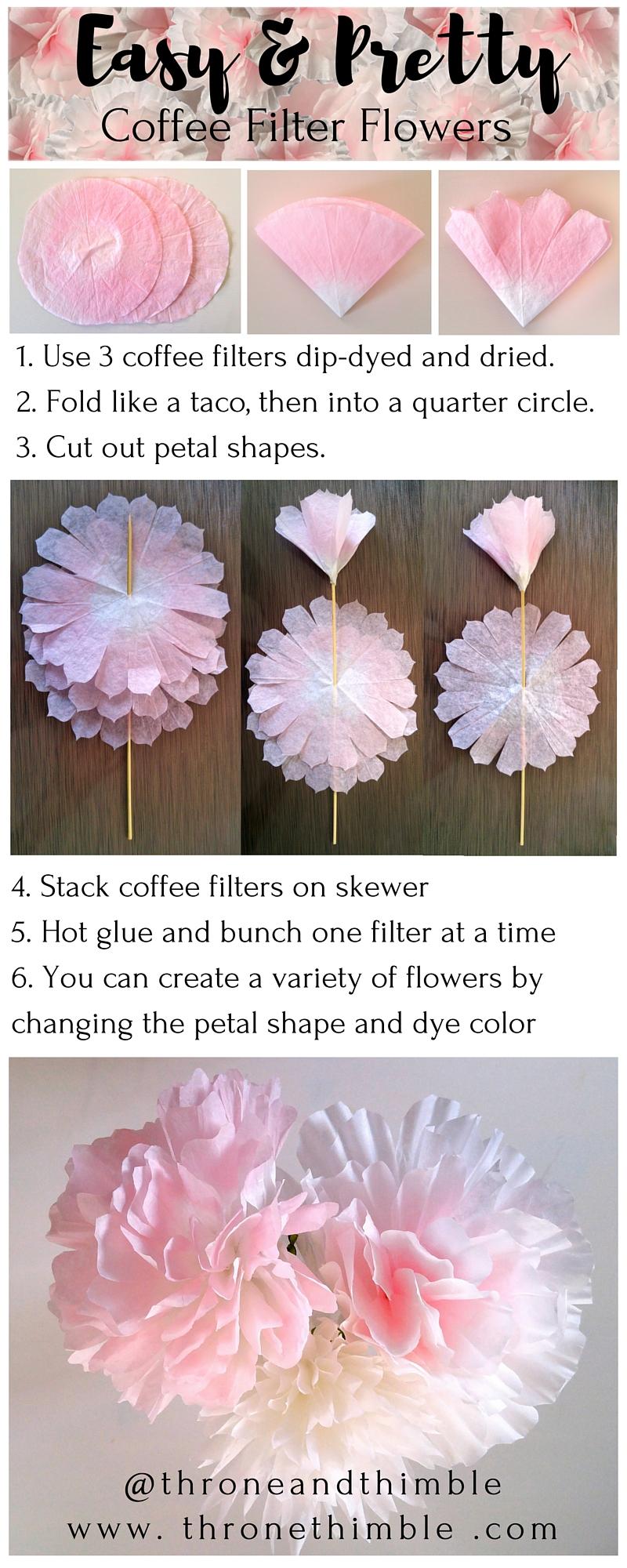 Easy Pretty Coffee Filter Flowers Diy Throne Thimble