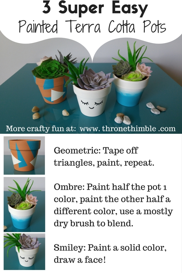 3 Super EasyPainted Terra Cotta Pots pin