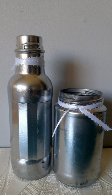 silver-spray-painted-jars